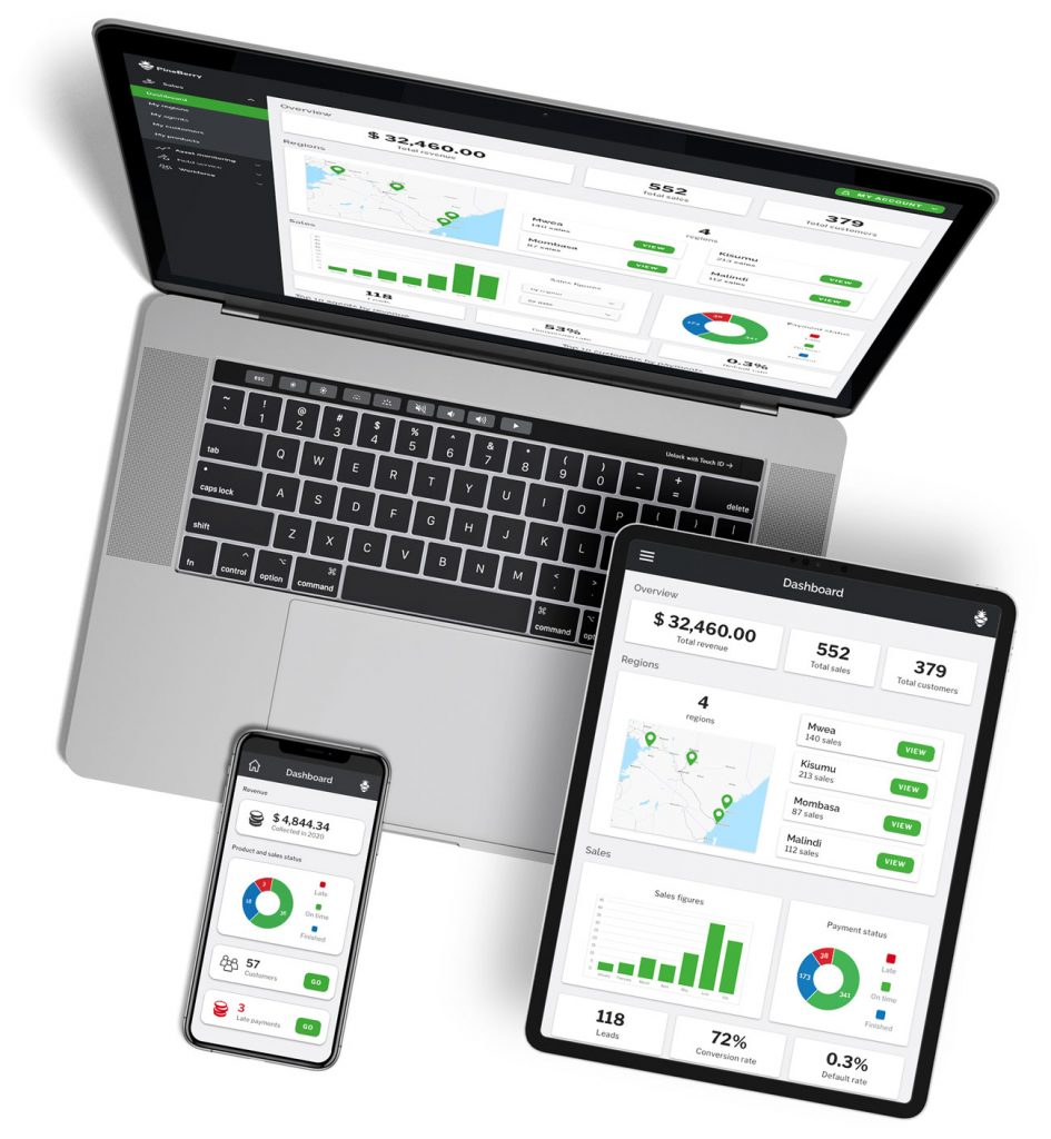Software displayed on different devices